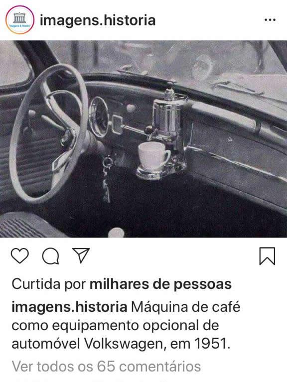 É verdade que os fuscas dos anos 1950 saiam de fábrica com cafeteira?