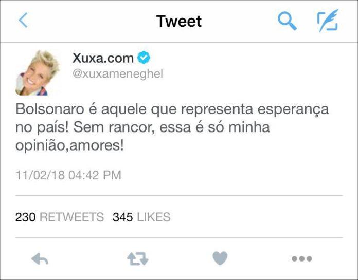 Xuxa disse no Twitter que apoia a candidatura de Bolsonaro à Presidência?