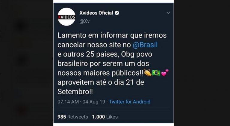 """O acesso ao site XVideos será """"cancelado"""" no Brasil em 21 de setembro de 2019?"""