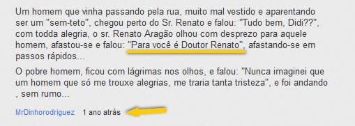 Youtube - Comentário sobre o Doutor Renato!